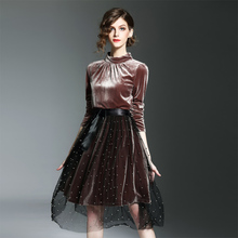 Velvet Fashion Dress Set Female Early Spring 2017 High End Top Quality Long Sleeve Brown Mini Dress + Mesh Beading Skirt Set
