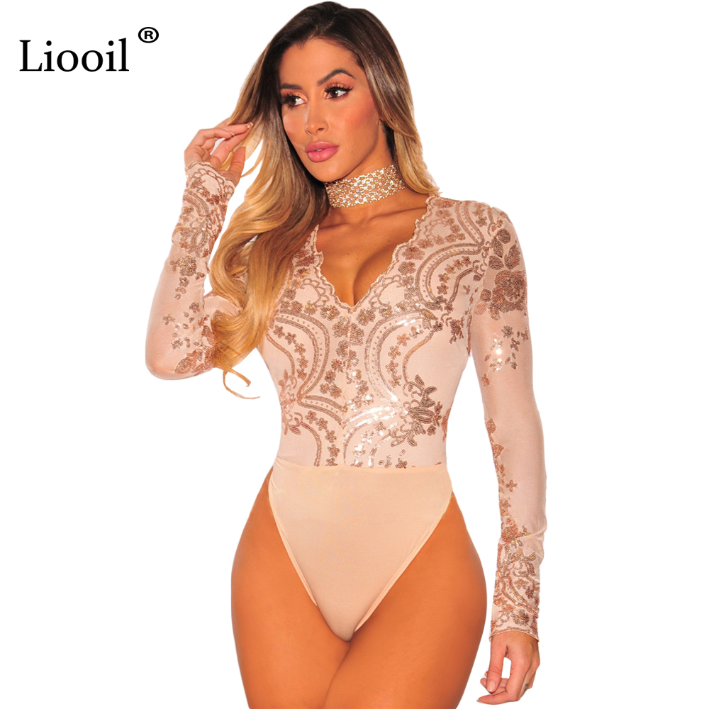 be5edee33e7 Liooil Long Sleeve Sequin Bodysuit Mesh See Through Deep V Neck Back Zipper  Sexy Jumpsuit Skinny Club Female Bodysuits Rompers-in Bodysuits from Women s  ...
