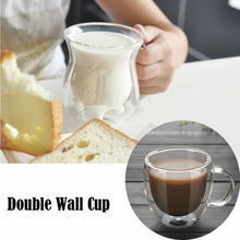 Simple 150-250ML Glass Coffee Mug Clear Double Wall Insulated Thermal Tea Cup