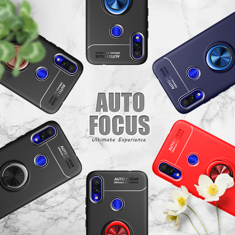 Luxury Cases For Samsung Galaxy A40 Case Finger Ring Car Magnet Holder Soft Silicone Back Cover For Samsung Galaxy A70 Coque in Half wrapped Cases from Cellphones Telecommunications