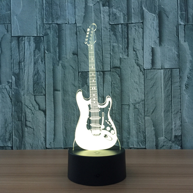 Guitar 7 Color Lamp 3D Led Night Lights for Kids Touch USB Table ...