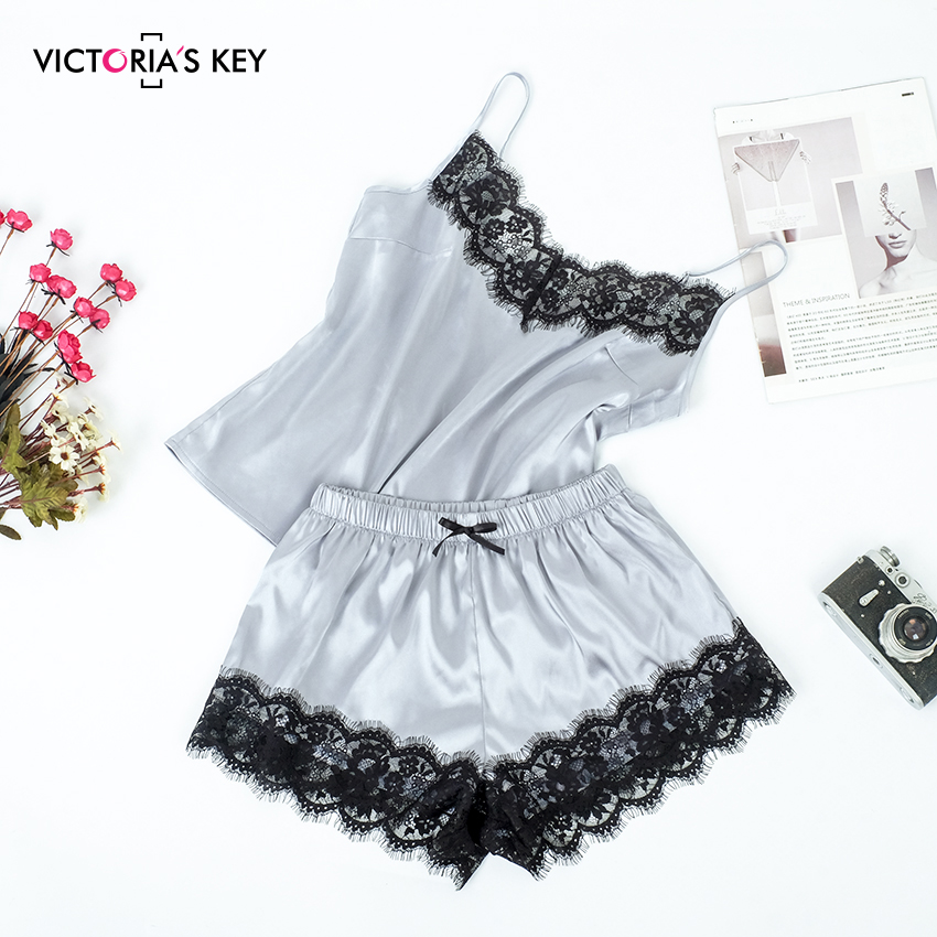 VICTORLA'S KEY Elegant Silver Satin Pajama Set Lace Top Female Cami And Bow Shorts Lovely Summer Sleepwear Women's Pajamas 2019