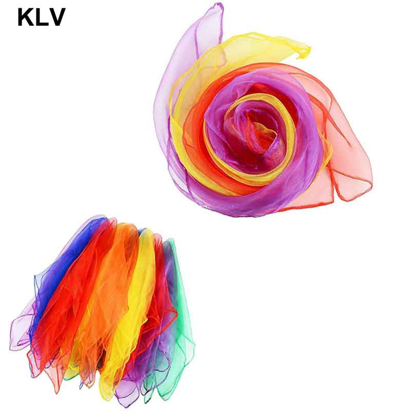 12 Pcs / Set Dancing And Juggling Towels Candy Colored Gym Towel Dance Practical Gauze Scarf Chiffon 6 Colors