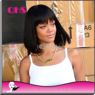 10inch Full lace human Rihanna Bob Wigs for black women