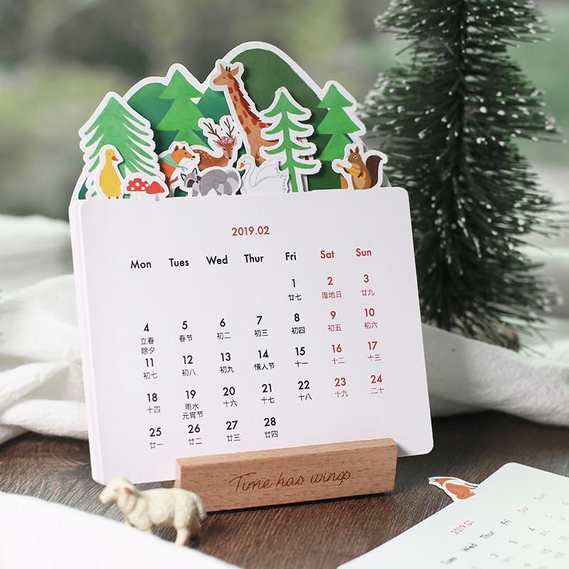Calendars, Planners & Cards 2019 Cute Cherry Blossoms Desk Calendar Diy Mini Portable Table Calendars Daily Schedule Planner 2019.01~2019.12 Modern Techniques