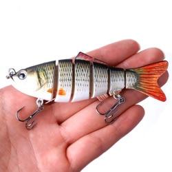 HENGJIA 1PC 10cm 19g Wobblers Pesca 6 Segmentos Swimbait Crankbait Isca De Pesca Isca Artificial com Ganchos