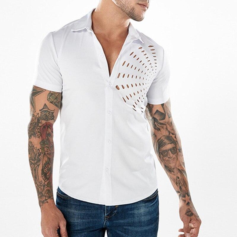 2018 High Streetwear Cotton Men Shirts Black White V Neck Turn-down Collar Basic Plain Casual Male Shirts Summer Slim Tee Tops