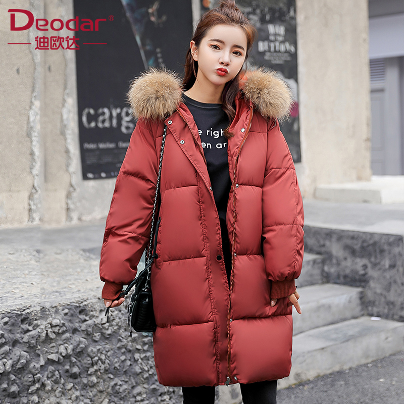 Deodar 2018 herbst winter Frauen damen Mode pelz hoodie lange Unten jacke Baumwolle dicke Parkas Weibliche Lange warme kleidung mantel