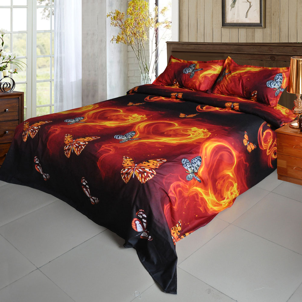 Bed sheet set with quilt - 4pcs 3d Bedding Outlet Duvet Cover Printed Bedding Set Butterfly Fire Pattern Home Textiles Quilt Cover