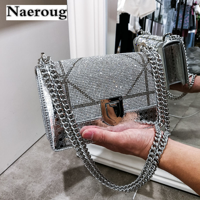 Luxury Fashion Lady Chain Shoulder Bag Diamond Smooth Shiny Patent Leather Women Messenger Bag Crossbody Bag Purses and Handbags striped bandeau bikini set