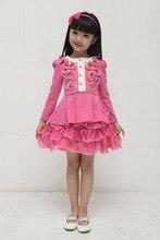 Free Shipping 2014  Dress Girl Princess Girls Brace Dress Princess Dress Red High Quality Girls Long Sleeve Dresses(BG031)