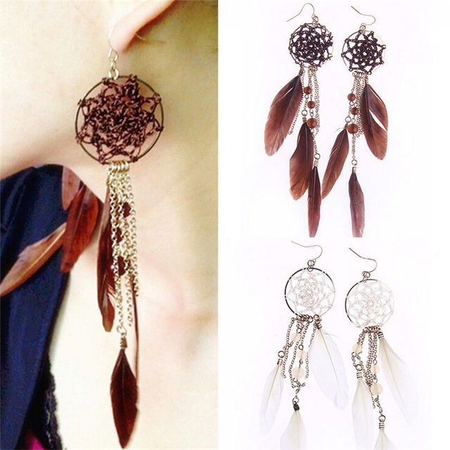 Bronze Plated Two Colors Feather Earrings Long