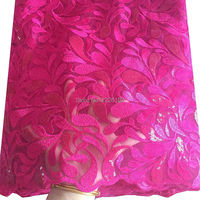 Nigeria lace fabric 5 yards 2018 latest net swiss luxury african lace tulle fabric in fushia pink sequence lace fabric