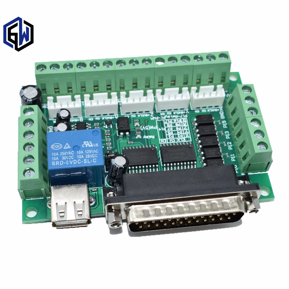 5 Axis CNC Breakout Board With Optical Coupler For Stepper Motor Driver MACH35 Axis CNC Breakout Board With Optical Coupler For Stepper Motor Driver MACH3