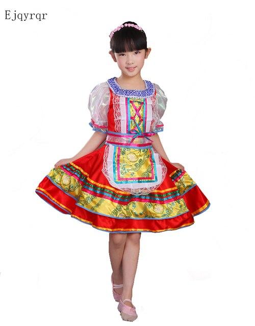 0129d9e7703ad Style russe filles rouge traditionnel International fête des enfants scène Costumes  de danse robes pour enfants