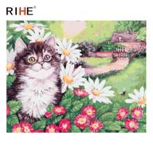 RIHE Cat Flower Diy Painting By Numbers Animal Oil On Canvas Village Hand Painted Cuadros Decoracion Acrylic Paint Art