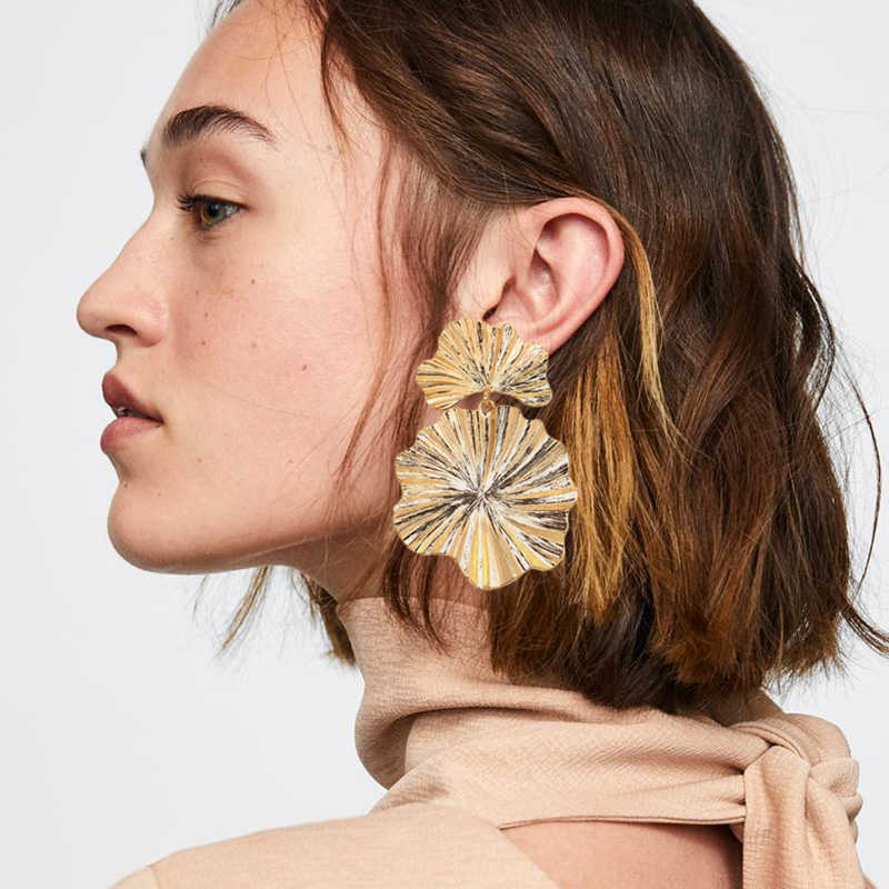 Big Leaf Bohemian Earrings For Women Gold Color Long Boho Dangle Drop Earrings Hanging Party 2018 Earings Fashion Jewelry