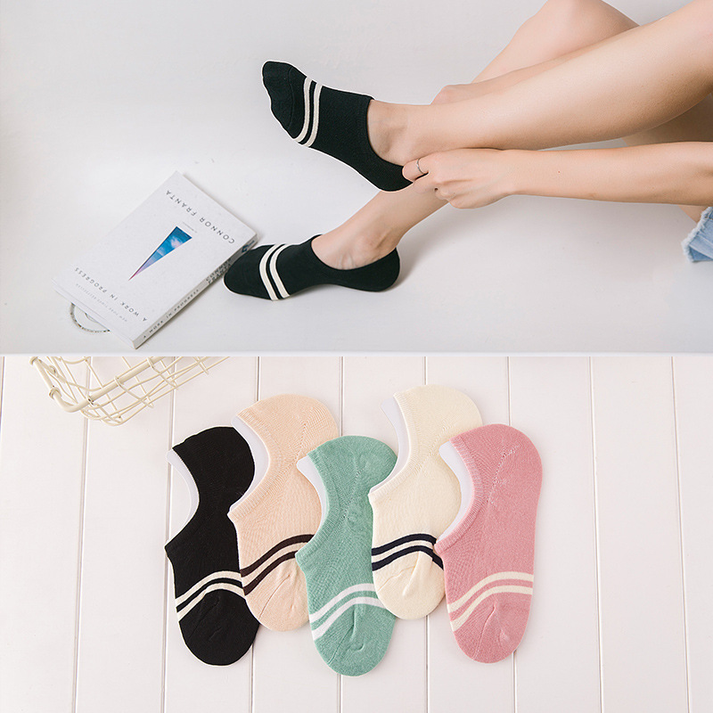 Comfortable Cotton Girl Women's Socks Ankle Low Female Invisible Color Girl Boy Hosiery Ladies Boat Sock Slipper 1pair=2pcs