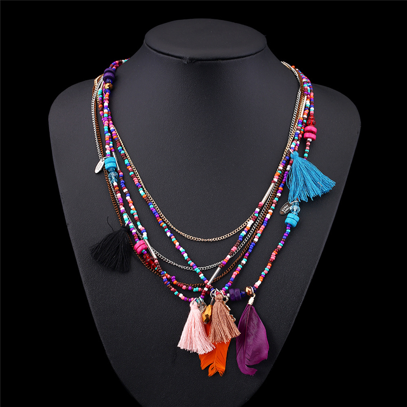 KOMi 2016 Bohemia Multi Color Feather Necklaces Beads Long Chain Jewelry Statement Necklace For Women Collares Gift O-098