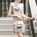 Chinese Traditional Dress Fashion Printed Vintage Cheongsam Qipao Summer Style Vestido Chinese Oriental Women's Clothing Tops