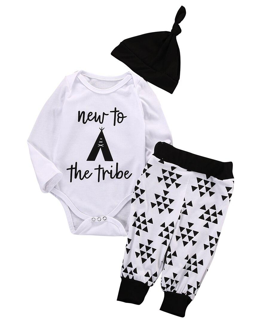 Cotton Newborn Baby Boys Girls Clothes Long Sleeve Romper+Long Pants+Hat 3pcs Sets Kids Baby Cotton Summer Outfits Sets