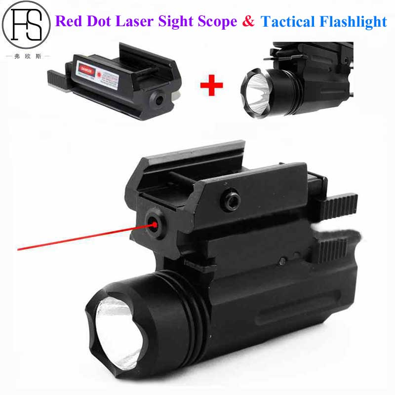 Tactical Red Dot Laser Sight + LED Flashlight Combo Hunting Accessories Laser For Pistol Guns Glock 17,19,20,21,22,23,30,31,32