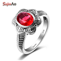 Szjinao التركية المجوهرات الشهيرة ماركة النساء خواتم 100% 925 فضة اليدوية الأحمر كريستال خمر بوهيميا الزفاف هدية