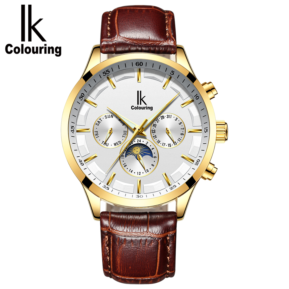 лучшая цена IKcolouringAutomatic mechanical watch men's watch multi-functional trend waterproof business watch men's stainless steel fashion