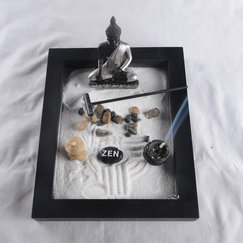 Buddha Zen Garden Decoration Feng Shui Wood Craft Resin Figurine Incense  Burner Sand Table Home Decoration Business Gift Set In Figurines U0026  Miniatures From ...