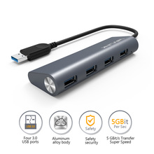 Wavlink Mini Portable Super Speed 4 Port USB 3.0 Hub With Built-in 3.3Ft. USB 3.0 Cable-grey