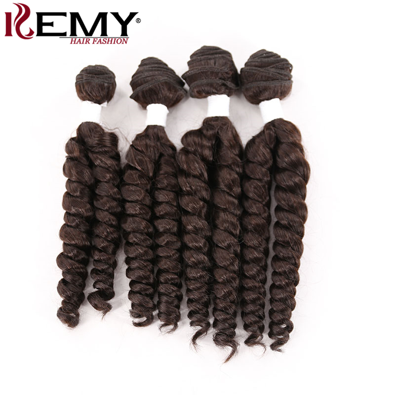 KEMY HAIR Heat Resistant Synthetic Hair 4 Bundles One Pack 161618Loose Wave Synthetic Hair Weave Extension Dark Brown Color