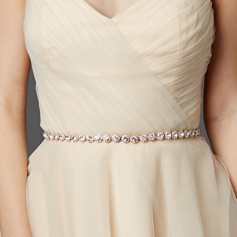 Miallo Fashion Thin Rhinestone Alloy Wedding Belts & Sashes Bridal Dress Accessories Skinny Sashes For Bride Bridesmaids