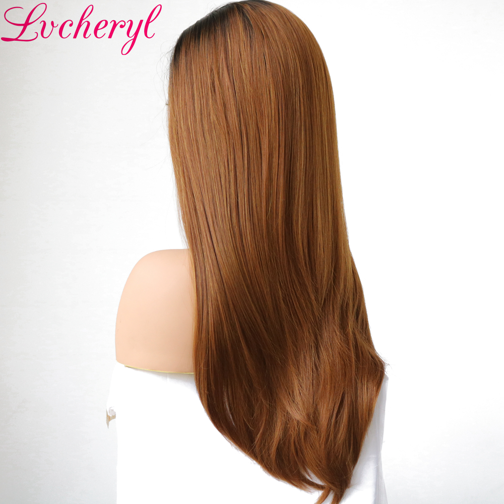 Lvcheryl Hand Tied Ombre Dark Roots To Brown Natural Long Straight Synthetic Lace Front Wig Heat Resistant Hair Wigs for Women