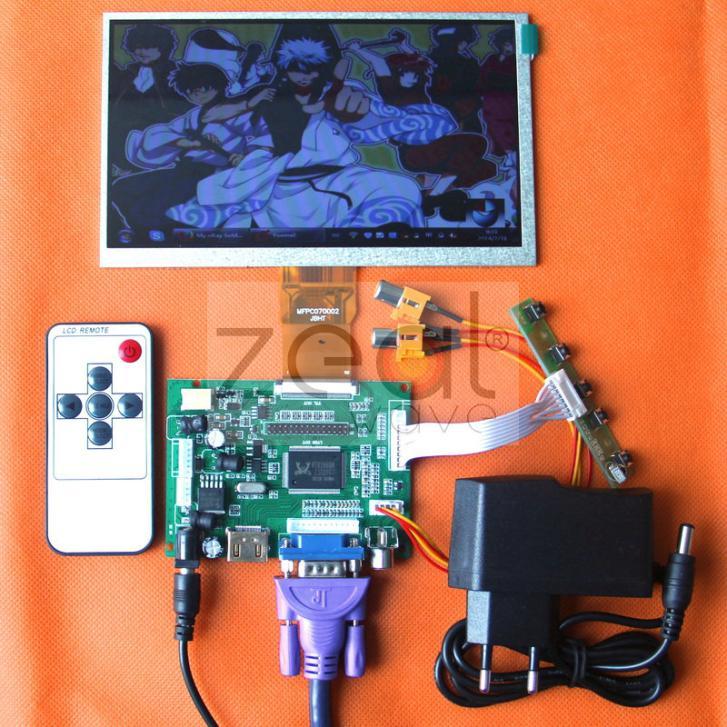 2pcs/Lot HDMI/VGA/2AV+Reversing Driver Board+DC 12V1A Power Supply+7inch 800*480 LCD Display 165*100mm hdmi vga 2av reversing driver board 8inch at080tn52 800 600 lcd panel