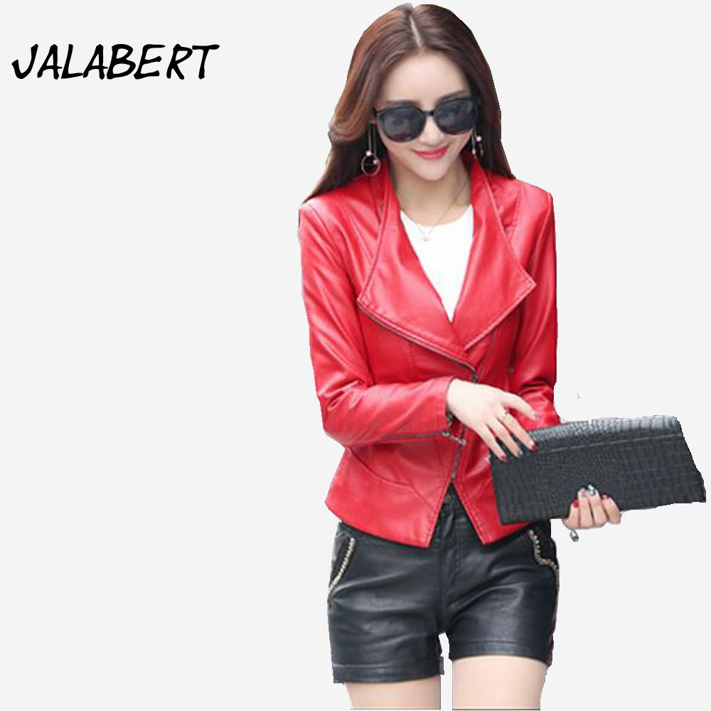 Leather jacket zip repair - 2017 Spring And Autumn New Women S Leather Short Paragraph Repair Small Jacket Female Turn Down Collar Zipper Coat