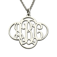 AILIN Silver MO Necklace in Cut Out Clover 4 leaf clover Necklace Personalized Name Necklace Lucky Clover Monogrammed Jewelry