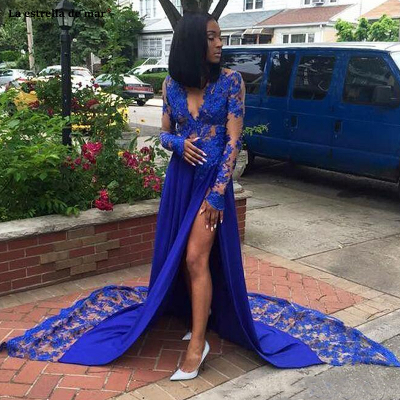 Sexy Royal Blue Evening   Dresses   Front Split Long Sleeves   Prom     Dress   Court Train V Neck Plus Size Party Gown Custom