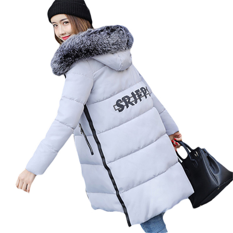 Winter Coats Women Cotton Warm Jacket Long Slim Parkas Ladies Padded Plus Size Winter Jackets Fur Collar Hooded Snow Wear RE0065 korean winter jacket women large size long coat female snow wear cotton parkas hooded thick warm coats and jackets 7 colors