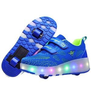 Image 3 - Yeni pembe mavi kırmızı USB şarj moda kız erkek LED ışık paten ayakkabı çocuklar Sneakers tekerlekler İki tekerlekler
