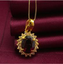 Pure 24K Solid 999 Yellow Gold Garnet Pendant