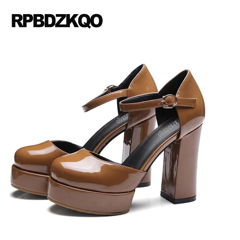 Nude Platform Heels Korean Wine Red Vintage Pumps Women Round Toe Ankle Strap Brown Extreme Block Super High Shoes Size 4 34 plus size 6 3 inches women spring autumn sexy black red white ankle strap round toe platform super high heels shoes pumps woman