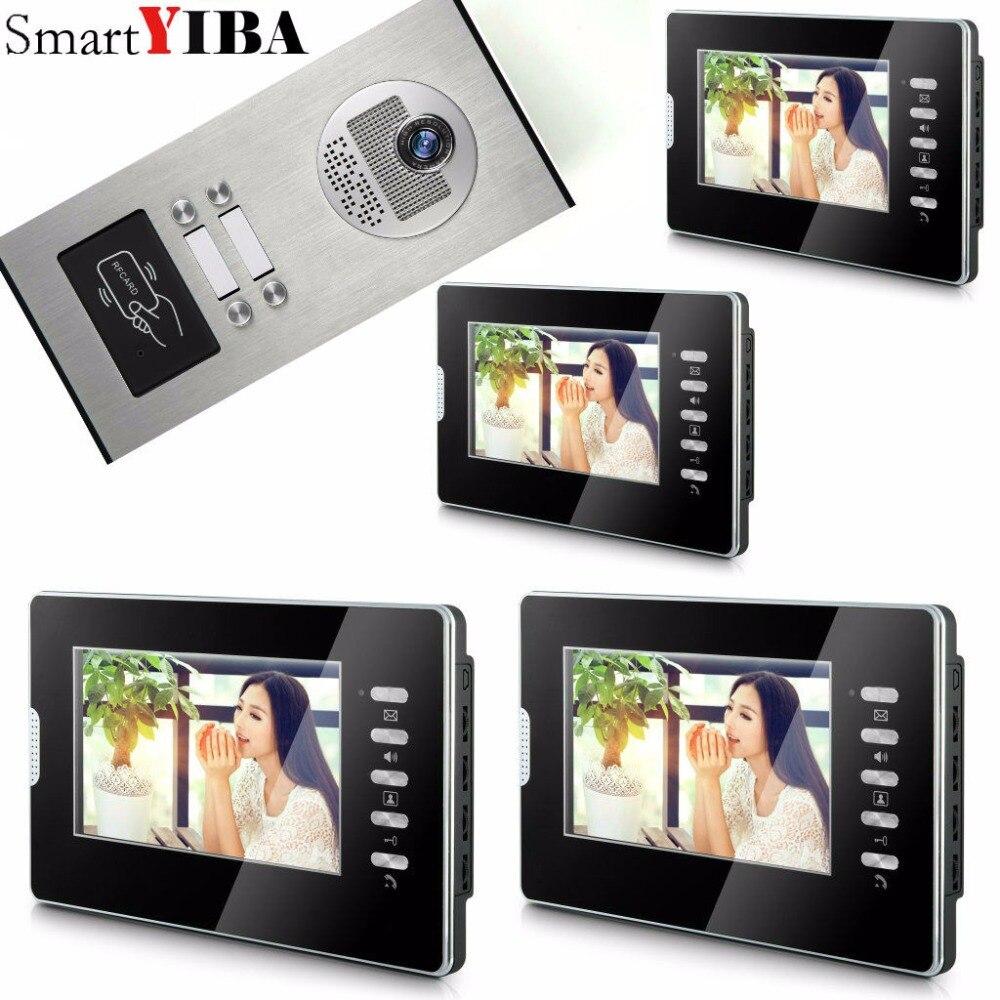 SmartYIBA Black 7 Inches Color Wired Video Doorbell Door Chime,Rainproof Door Phone For 4 Units Villa Apartment Intercom
