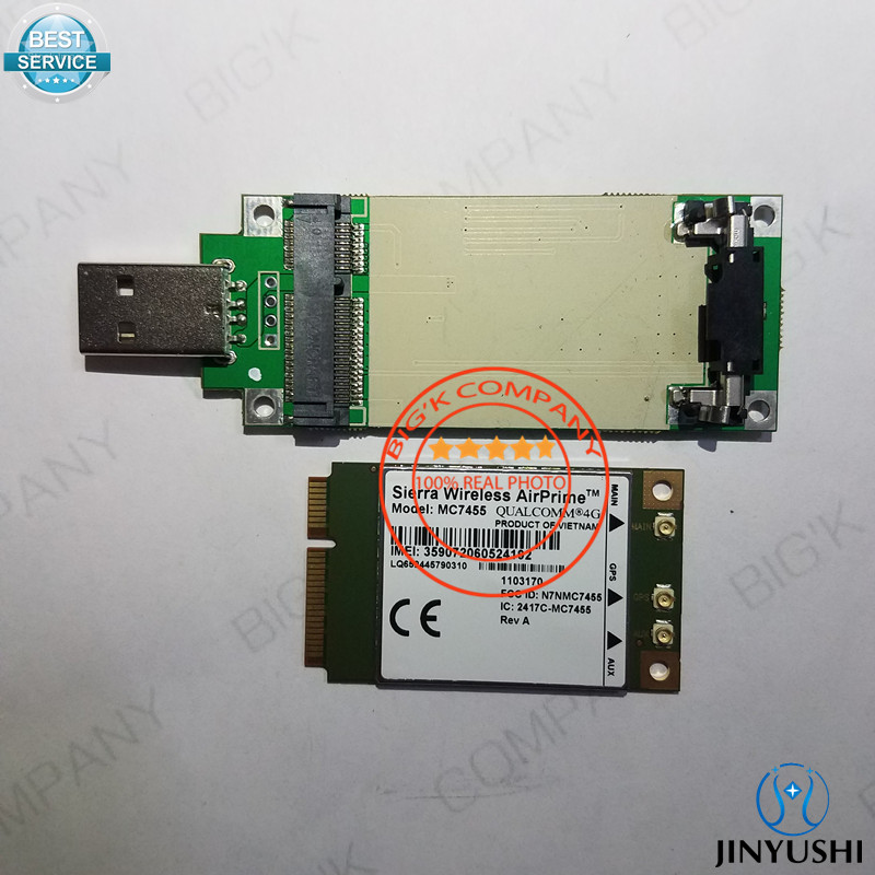 JINYUSHI for MC7455+Pcie to USB transfer card FDD/TDD LTE 4G CAT6 DC-HSPA+ GNSS USB 3.0 MBIM interface 100% New&Original telit ln930 dw5810e m 2 twh3n ngff 4g lte dc hspa wwan wireless network card for venue 11