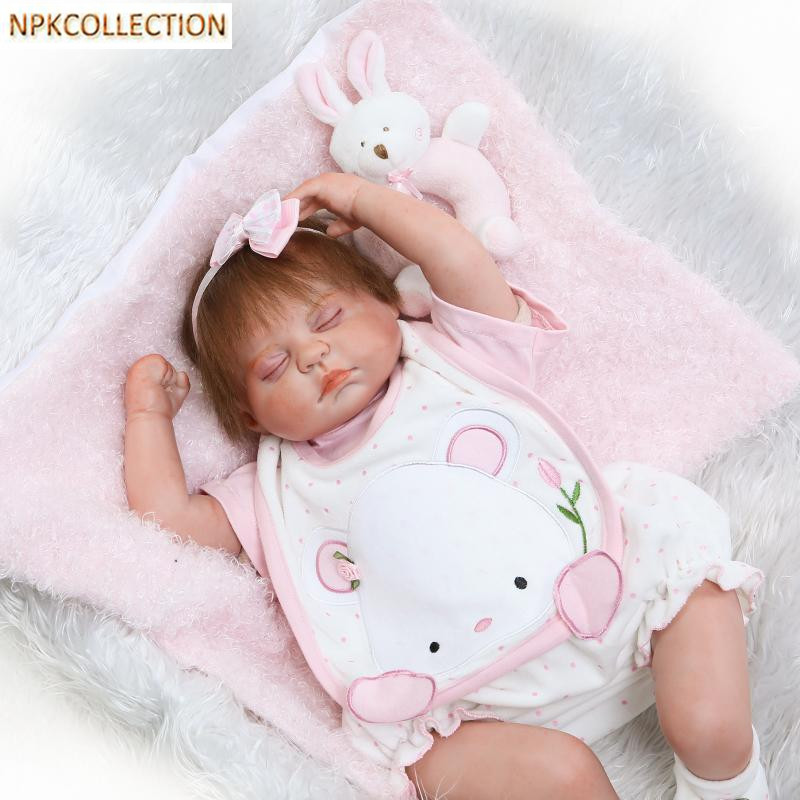 NPKCOLLECTION 18 Inch Baby Doll Toys For Children Silicone Reborn Alive Babies Lifelike Kids Toys Sleep Reborn For Kid Toys 14inch plush doll toys for children silicone reborn alive babies lifelike kids toys sleep reborn doll for children kid toy