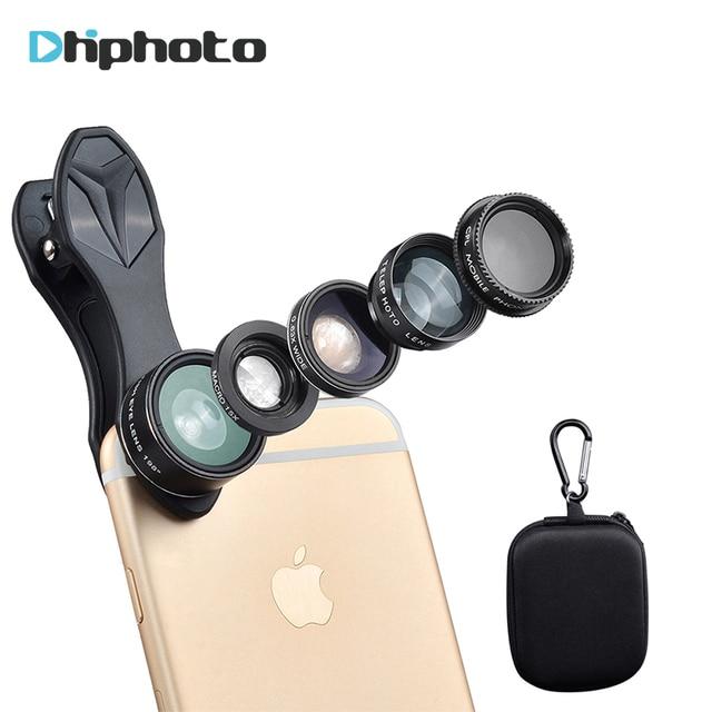 APEXEL Universal 5in1 Phone Lens Kit,Smartphone Fisheye+Wide Angel+15X Macro+Telescope+CPL Lenses for iPhone Samsung Xiaomi DG7