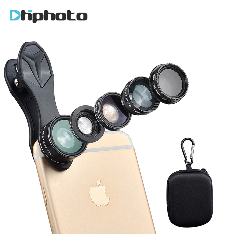 Ulanzi Universal 5in1 Telefon Objektiv Kit, Smartphone Fisheye + Weitwinkel + 15X Macro + Teleskop + CPL Linsen für iPhone Samsung Xiaomi DG7