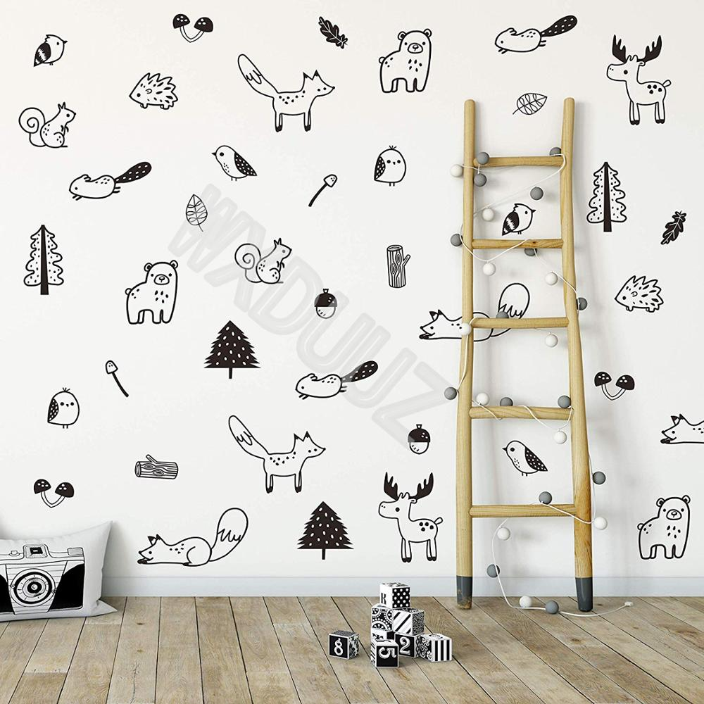 Forest Animal Decal 40 Pcs Artist Vinyl Wall Sticker For Kids Baby Nordic Fox Bear Moose Squirrel Trunk Leaf Bedroom Decoration