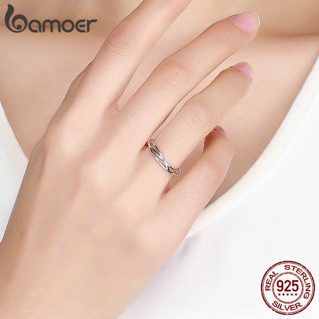 BAMOER Authentic 925 Sterling Silver Geometric Twisted Wave Open Size Finger Rings Women Wedding Engagement Jewelry SCR483 5