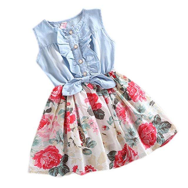 Kids Baby Girls Jean Denim Bow Flower Ruffled Dress Sundress Costume 2-6Y платье для девочек unbrand baby v 2 6 kids dress