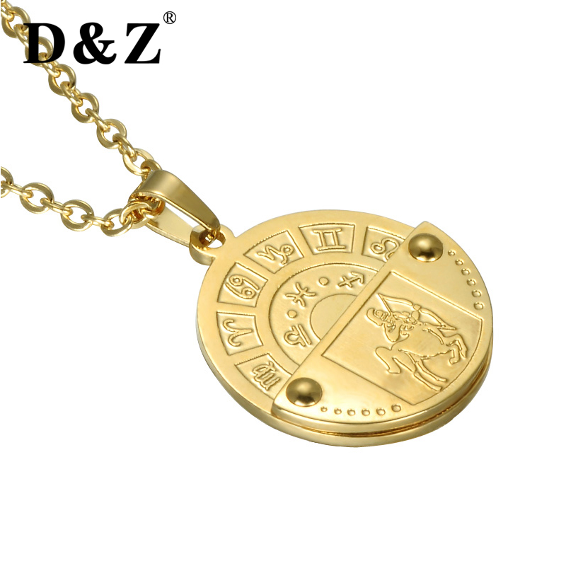 D&Z Fashion 12 Constellation Necklace Gold Chain Stainless Steel 12 Zodiac Sign Charm Couples Necklaces & Pendants Jewelry